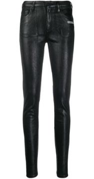 Faux-leather Skinny Trousers - Off-white
