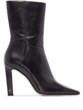Ankle Boot Merle De Couro Com Salto 100mm - Jimmy Choo