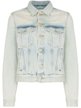 Fitted Bleached Denim Jacket - Off-white