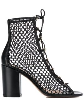 Mesh Lace-up Booties - Gianvito Rossi