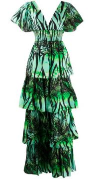 Foliage Print Tiered Dress - Fausto Puglisi