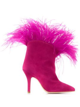 Feather Detail Ankle Boots - Paris Texas