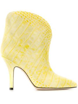 Crocodile Effect Ankle Boots - Paris Texas