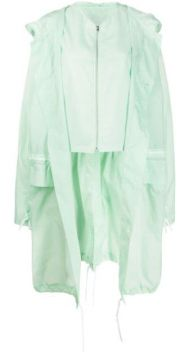 Long Button Up Drawstring Raincoat - Colville