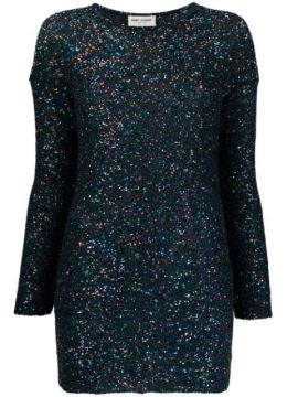 Sequin Embroidery Fitted Dress - Saint Laurent