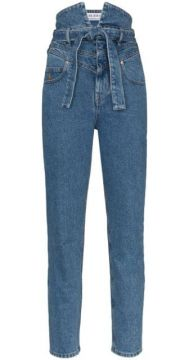 High Waist Belted Skinny Jeans - Attico