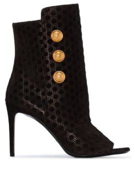 Oslo Button-detailed Flocked Leather Ankle Boots - Balmain