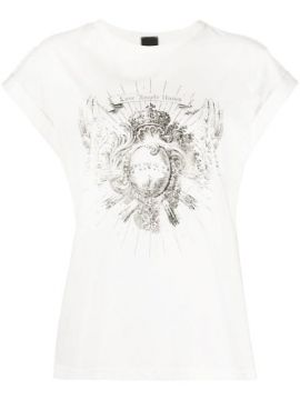 Fringed Graphic Print T-shirt - Pinko