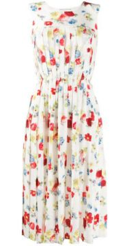 Sleeveless Pleated Floral Print Dress - Ermanno Scervino