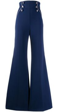 Stripe Detail Flared Trousers - Elisabetta Franchi