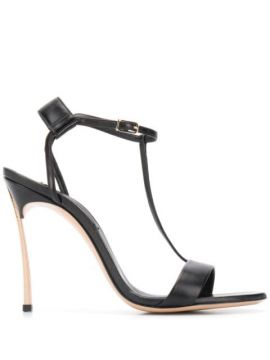 Metallic Heel T-bar Sandals - Casadei