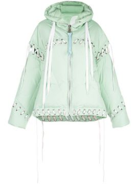 Contrast Lace-up Puffer Jacket - Khrisjoy