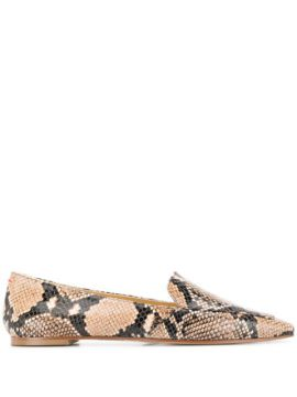 Pointed Snakeskin Effect Flat Shoes - Aeyde