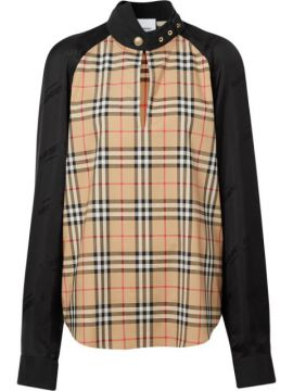 Vintage Check Panelled Blouse - Burberry