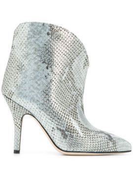 Metallized Embossed Ankle Boots - Paris Texas
