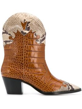 Embossed-effect Panelled Ankle Boots - Paris Texas