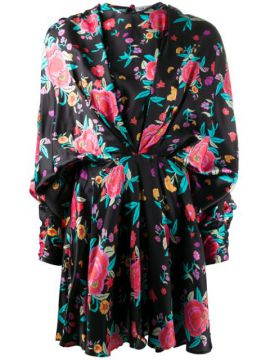 Ruched Style Floral Print Dress - Attico