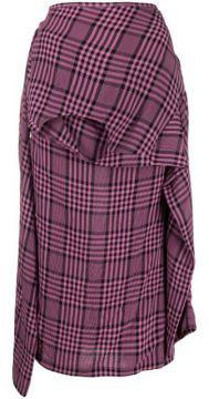 Plaid Asymmetric Shirt-style Skirt - Colville