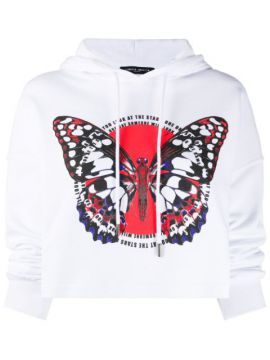 Butterfly-print Cropped Hoodie - Frankie Morello
