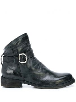 Distressed Style Side Buckle Boots - Officine Creative