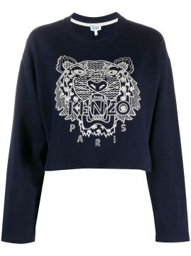Tiger-embroidered Cropped Sweatshirt - Kenzo