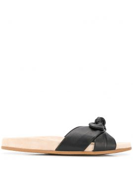 Dylan Knotted Leather Slides - Charlotte Olympia