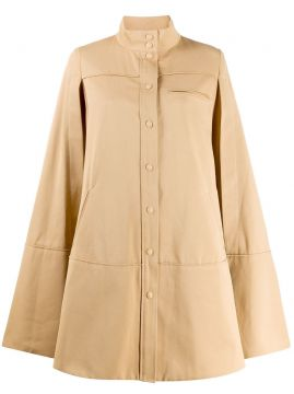 Cut-out Sleeve Flared Coat - Courrèges