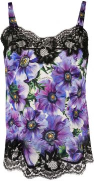 Anemone Print Lace-trimmed Top - Dolce & Gabbana
