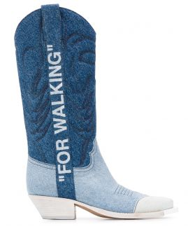 Denim Cowboy Boots - Off-white