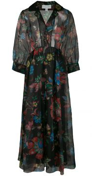 The Grace Floral Print Dress - Black Iris