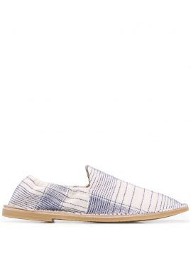 Checked Linen Slippers - Acne Studios
