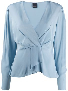 Ruffled Hem Deep V-neck Blouse - Pinko