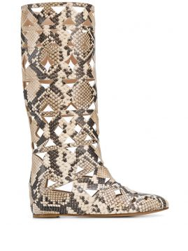 Snake Print Cut-out Boots - Casadei