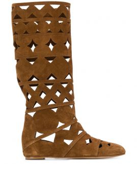 Suede Cut-out Boots - Casadei