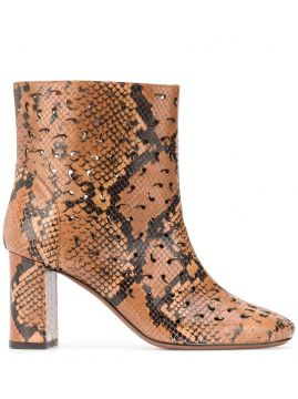 Snakeskin Print Ankle Boots - Lautre Chose