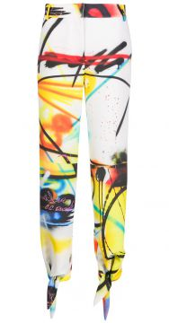Graffiti-print Ankle-tie Trousers - Off-white
