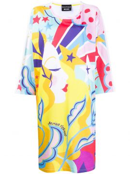 Abstract Print T-shirt Dress - Boutique Moschino