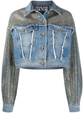 Studded Frayed Detail Jacket - Versace Jeans Couture