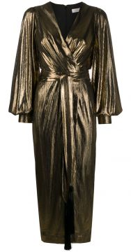 Metallic Wrap Midi Dress - Borgo De Nor