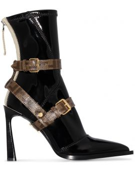 Ankle Boot Preta Com Salto 105mm - Fendi