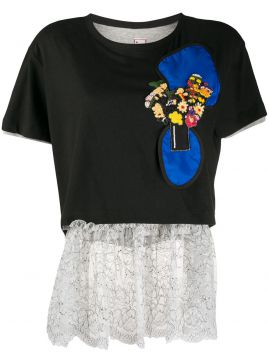 Sequin Detail Lace Hem T-shirt - Antonio Marras
