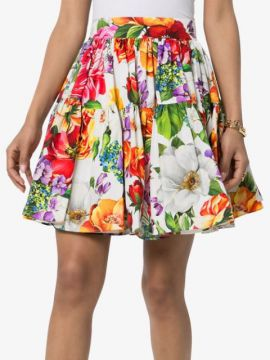Pleated Floral-print Puffball Mini Skirt - Dolce & Gabbana
