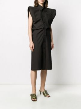 Exagerated Shoulder Dress - Bottega Veneta
