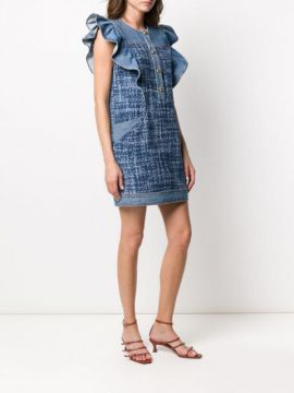 Sleeveless Ruffled Denim Dress - Philosophy Di Lorenzo Seraf