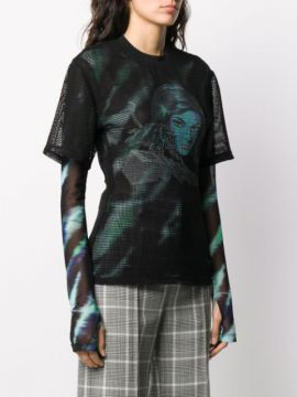 Printed Net Top - Off-white