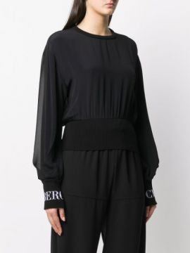 Knitted Logo Cuff Blouse - Iceberg