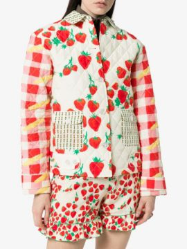 Strawberry-print Quilted Cotton And Silk-blend Jacket - Helm