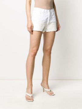 Short Jeans Com Barra Rasgada - Off-white