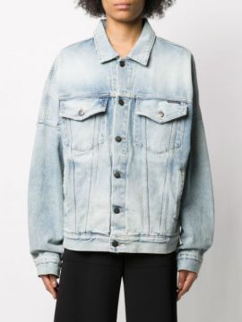 Oversized Distressed Denim Jacket - Palm Angels
