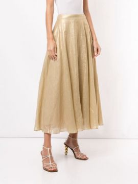 Glorious Metallized A-line Skirt - Ginger & Smart
